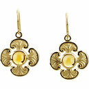 Genuine Citrine Maltese Cross Earrings