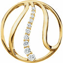 14 KT Yellow Gold 3/4 Carat Total Weight Diamond Journey Pendant