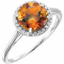 14KT White Gold Citrine and .05Carat Total Weight Diamond Ring