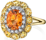 Exquisite 3.33 carat Fiery Orange Mandarin Garnet & Yellow Sapphire Sun Ring in 18kt Yellow Gold with Diamond Halo - Handmade