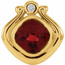 14KT Yellow Gold Mozambique Garnet & .03 Carat Total Weight Diamond Pendant