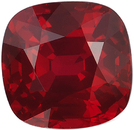 Low Price on Fine Loose Ruby Cushion Cut, Vivid Red Color in 6.97 x 6.86 mm, 2.12 Carats