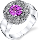 Fabulous Hand Crafted 2.1 carat Oval Hot Pink Sapphire Chunky Ring With Round Pave Diamond Face in 18kt White Gold