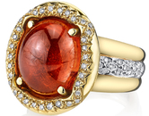 Distinctive Hand Crafted 20 carat Gem Spessartite Cabochon set in 18kt Yellow Gold Ring and 0.68ctw Diamond Accents