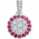 14KT White Gold Ruby & 1/3 Carat Total Weight Diamond Pendant