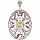 14KT White Gold Pink & Yellow Sapphire & 3/8 Carat Total Weight Diamond Pendant