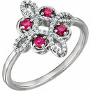 14KT White Gold Ruby & 1/6 Carat Total Weight Diamond Clover Ring