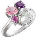 14KT White Gold White Topaz, Amethyst, Pink Topaz & Chatham Created Pink Sapphire Cluster Ring