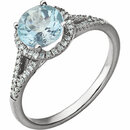 14KT White Gold 1/5 Carat Total Weight Diamond & Sky Blue Topaz Birthstone Ring