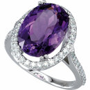 Amethyst Halo-Style Ring