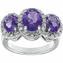14KT White Gold Amethyst & .04 Carat Total Weight Diamond Ring
