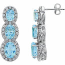 14KT White Gold Sky Blue Topaz & .07 Carat Total Weight Diamond 3-Stone Earrings