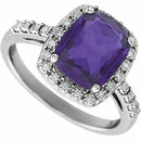 14KT White Gold Amethyst & .07 Carat Total Weight Diamond Ring