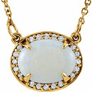 14KT Yellow Gold Opal & .05 Carat Total Weight Diamond Halo-Style 16.5