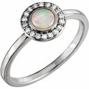14KT White Gold Opal & 1/10 Carat Total Weight Diamond Ring