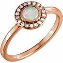 14KT Rose Gold Opal & 1/10 Carat Total Weight Diamond Ring