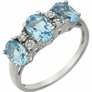 14KT White Gold 7x5mm Sky Blue Topaz & .02 Carat Total Weight Diamond Ring