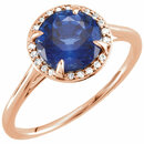 14KT Rose Gold Chatham Created Blue Sapphire & .05 Carat Total Weight Diamond Ring