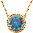 14KT Yellow Gold Chatham Created Alexandrite & .05 Carat Total Weight Diamond 16