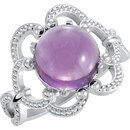 14KT White Gold 10mm Granulated Design Amethyst Ring