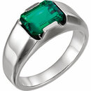 14K White Chatham Created Emerald Men's Ring