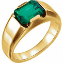 14K Yellow Chatham Created Emerald Men's Ring