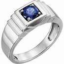 14K White Men's Chatham� Created Blue Sapphire Ring