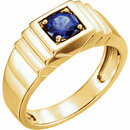 14K Yellow Men's Chatham� Created Blue Sapphire Ring