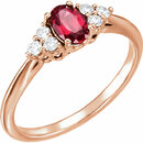 14K Rose Chatham� Created Ruby & 1/6 CTW Diamond Ring