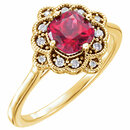 14K Yellow Chatham� Created Ruby & 1/10 CTW Diamond Ring