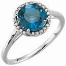 14KT White Gold London Blue Topaz & .05 Carat Total Weight Diamond Ring