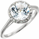 14KT White Gold White Topaz and .05Carat Total Weight Diamond Ring