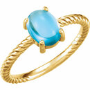14KT Yellow Gold Swiss Blue Topaz Cabochon Ring