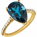 14KT Yellow Gold London Blue Topaz & 1/4 Carat Total Weight Diamond Ring