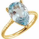 14KT Yellow Gold Sky Blue Topaz Rope Ring