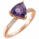 14KT Rose Gold Amethyst & .08 Carat Total Weight Diamond Ring