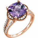 14KT Rose Gold Amethyst & 3/8 Carat Total Weight Diamond Ring