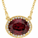 14KT Yellow Gold Rhodolite Garnet & .05 Carat Total Weight Diamond 16