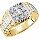 14 KT White Gold & Yellow 3/8 Carat Total Weight Diamond Men's Ring