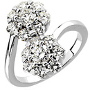 Outstanding 2 Carat Total Weight Diamond Cluster Ring set in 14 karat White Gold - SOLD