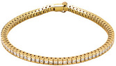 Bezel Set 14 Karat Yellow Gold 4 Carat Total Weight Princess Diamond Line 7.25