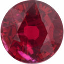 Faceted Ruby Loose Gem in Round Cut, Vibrant Red, 5.94 mm, 1.24 Carats