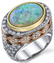 Custom Beautiful White Crystal Opal Ring set 18 karat Yellow, White & Rose Gold - SOLD