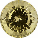 Classic  Unheated Sapphire Loose Gem in Round Cut, Light Yellow, 9.28 mm, 4.37 Carats