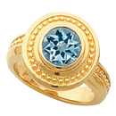 Fun Statement Ring! - 14k Gold Bezel Set 1 carat GEM 6mm Blue Aquamarine Fashion Ring With Ornate Beaded Look