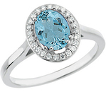 Genuine 1.45ct 8x6 mm Aquamarine Xtra Blue Gem Mounted in Diamond Gold Ring in 14kt White Gold