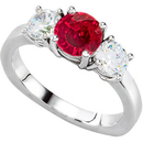Ultimate Serious GEM Large 1.50 carat Genuine 6.5mm Ruby & 1ct tw Diamond 3-Stone Engagement Ring - Stunning Choice!