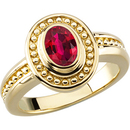 Beautiful Vivid Red GEM 1.05ct 5x3mm Ruby in Bezel Gold Mounting for SALE