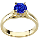 Stunning Details! - Gorgeous GEM Grade 1.20 carat 6.5mm Blue Sapphire Solitaire Engagement Ring - Bezel Set Diamond Accents