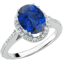 Large 1.35ct 8x6mm Vivid Blue GEM Quality Genuine Blue Sapphire Stone set with Diamonds & White Gold